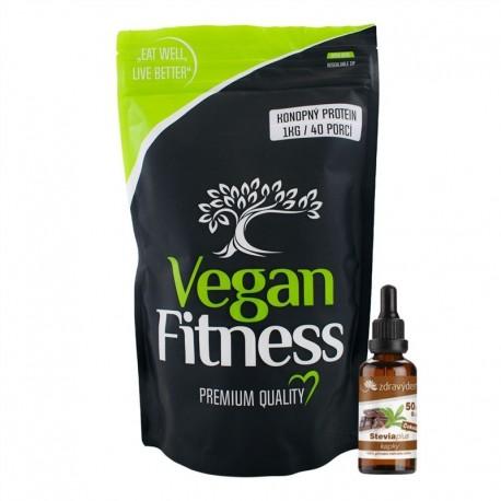 Konopný Protein 1kg + Stevia kapky 50ml malina
